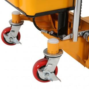 Zoom sur les roues et les freins de parking du gerbeur table semi electrique levee 1500 mm