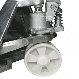 Zoom de la pompe et des roues en nylon du transpalette haute levée inox 316