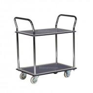 Chariot de Manutention 2 Plateaux Antidérapants Capacité 120 kg