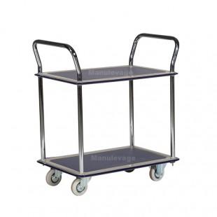 Chariot antidérapant 2 plateaux capacité 120 kg