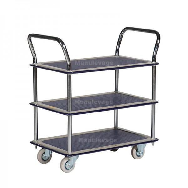 Chariot de Manutention 3 Plateaux Antidérapants Capacité 120 kg