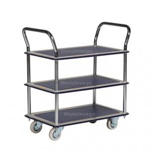 Chariot 3 plateaux antidérapants capacité 120 kg