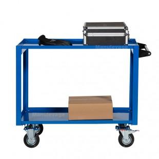 Vue de profil de la servante d atelier 2 plateaux en acier