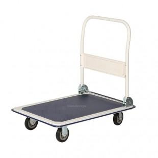 Vue arrière  du chariot de manutention 1 plateau antidérapant 250 kg à bavette rabattable