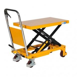 table élévatrice manuelle 300 kg vue de 3/4 plateau mi haut