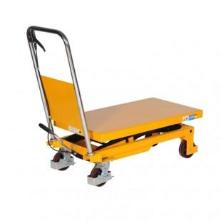 table élévatrice manuelle 300 kg vue de 3/4 plateau bas