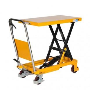 table élévatrice manuelle 300 kg vue de 3/4 plateau haut
