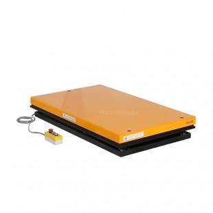 Table élévatrice électrique 2 tonnes plateau 1300 x 1000 mm en position basse avec boitier de commande.