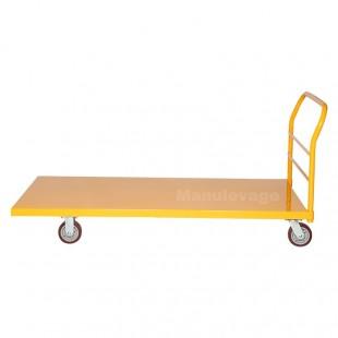 Vue de profil du chariot de manutention professionnel  en acier plié robuste jaune