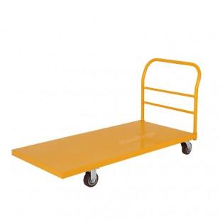 Vue arriere du grand plateau jaune en acier plié robuste.