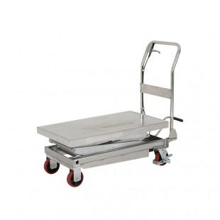 Table elevatrice manuelle vue de 3/4 plateau 950 x 500 mm en inox