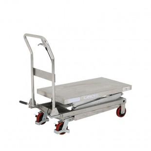 Table elevatrice mobile manuelle inox capacite 350 kg doubles ciseaux plateau baisse 500x950 mm