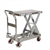Table élévatrice manuelle inox 304 hydraulique vue arrière