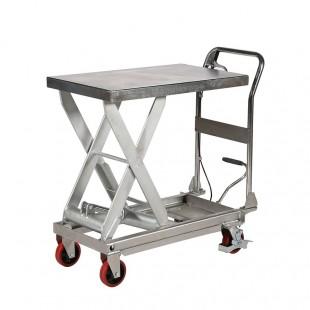 Table élévatrice en inox capacité 450 kg vue de 3/4