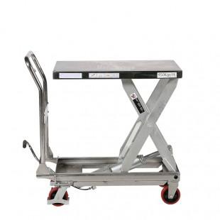 Vue de profil de la table élévatrice manuelle inox 304 plateau haut simples ciseaux dépliés.