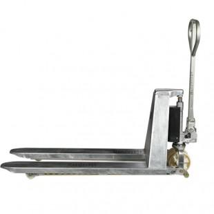 Vue de profil du transpalette haute levée galvanisé