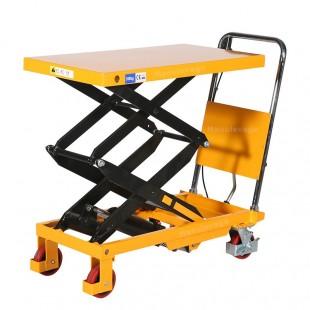 Vue arrière de la table élévatrice manuelle 350 kg doubles ciseaux dépliés.