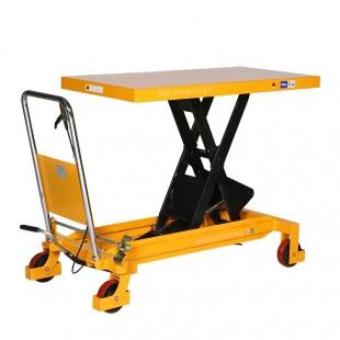 Table élévatrice manuelle capacité de charge 1500 kg vue du plateau 1220 x 610 mm levé
