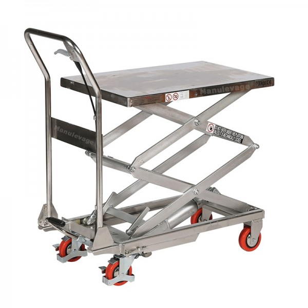 Table élévatrice mobile manuelle INOX 150Kg