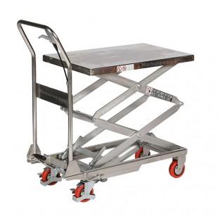 Table élevatrice inox double ciseau capacité 100 kg plateau mi haut