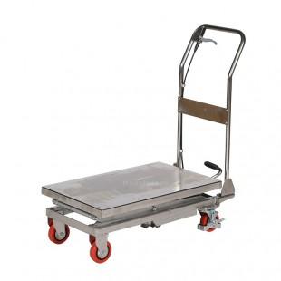 Vue arrière de la table élévatrice mobile inox capacité 100 kg