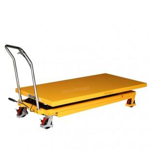 Table élévatrice manuelle plateau 1600 x 810 mm abaissé.