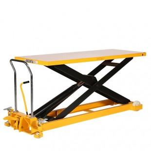 Vue avant de la table élévatrice manuelle 1000 kg plateau 2035 x 750 mm