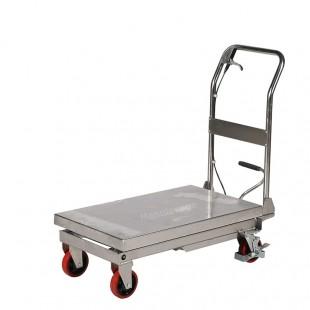 Table élévatrice mobile inox capacité 250 kg vue de 3/4