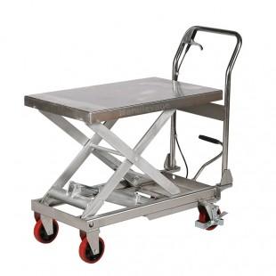 Vue arrière de la table élévatrice mobile simple ciseau capacité 250 kg.