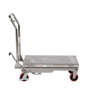 Profil plateau bas de la table élévatrice manuelle inox capacité 250 kg