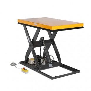 Table élévatrice électrique 1 tonne plateau haut 1300 x 800 avec boitier de commande.