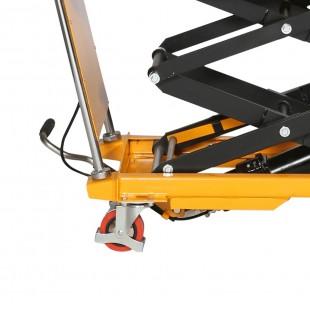 Zoom de la pédale de levage, de la roue et des ciseaux de la table élévatrice hydraulique 150 kg