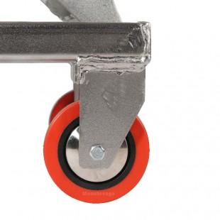 zoom de la roue en polyuréthane de la table elevatrice en inox