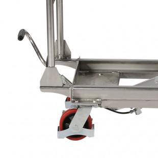 zoom de la pédale de levage et de la roue de la table elevatrice hydraulique inox