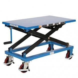 Vue arrière de la table élévatrice manuelle a treuil 300 kg plateau 950 x 600 mm