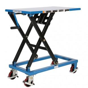 Vue avant de la table élévatrice manuelle à manivelle capacité 300 kg plateau haut