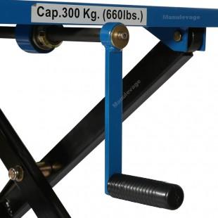 Zoom sur le treuil de levage de la table elevatrice manuelle
