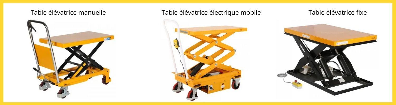 table élévatrice manuelle et électrique